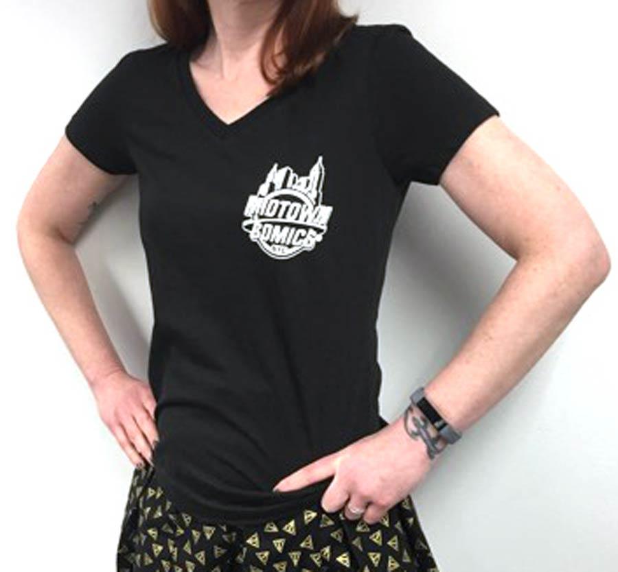 Midtown Comics White Logo Juniors Black V-Neck T-Shirt Large