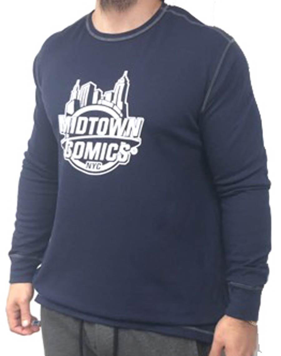Midtown Comics White Logo Mens Navy Long Sleeve Thermal T-Shirt Large