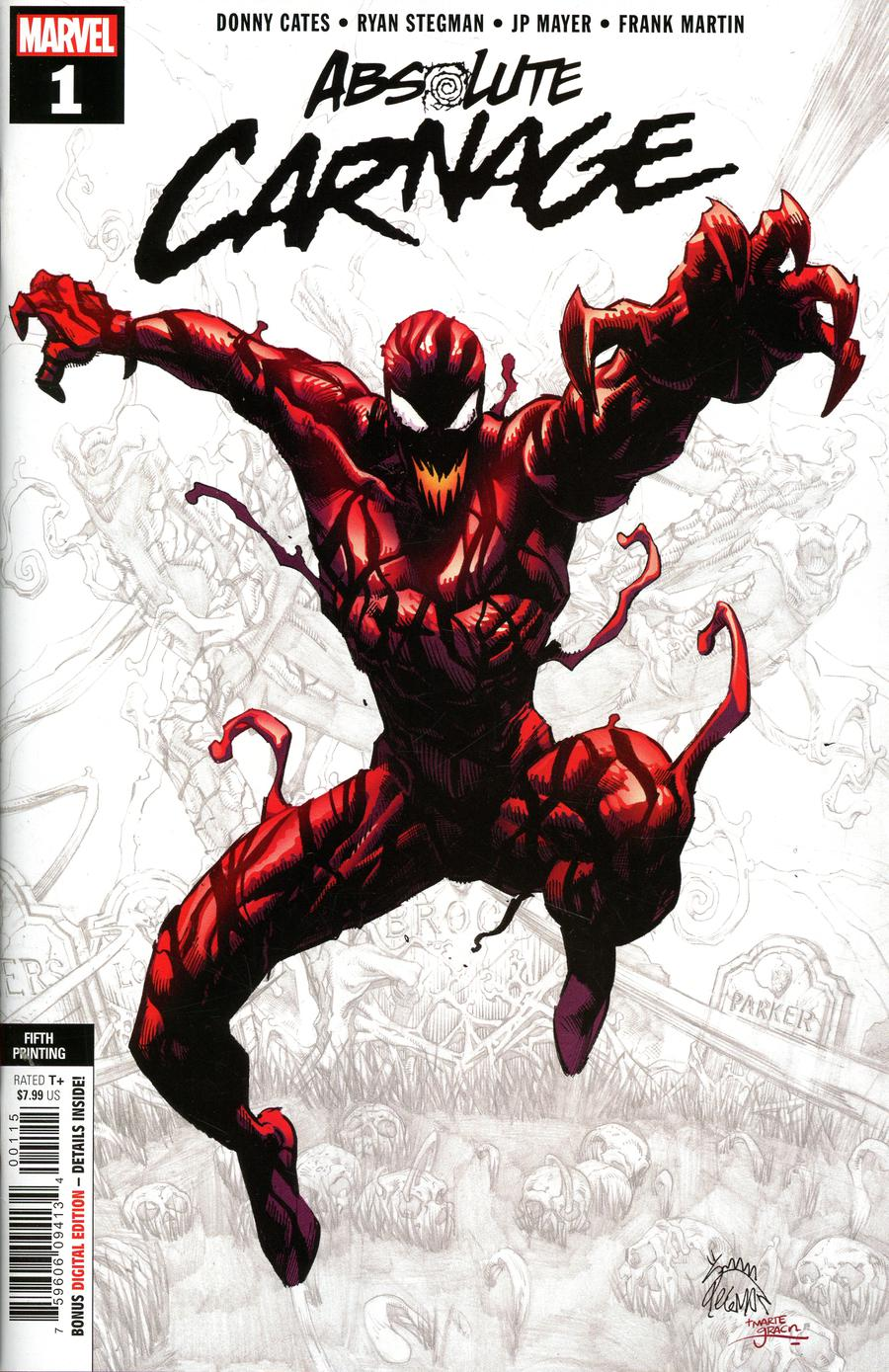 Absolute Carnage #1 Cover Y 5th Ptg Variant Ryan Stegman Cover
