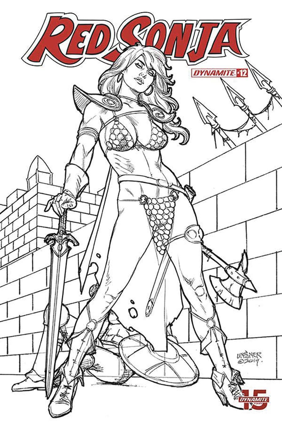 Red Sonja Vol 8 #12 Cover M Incentive Joseph Michael Linsner Black & White Cover
