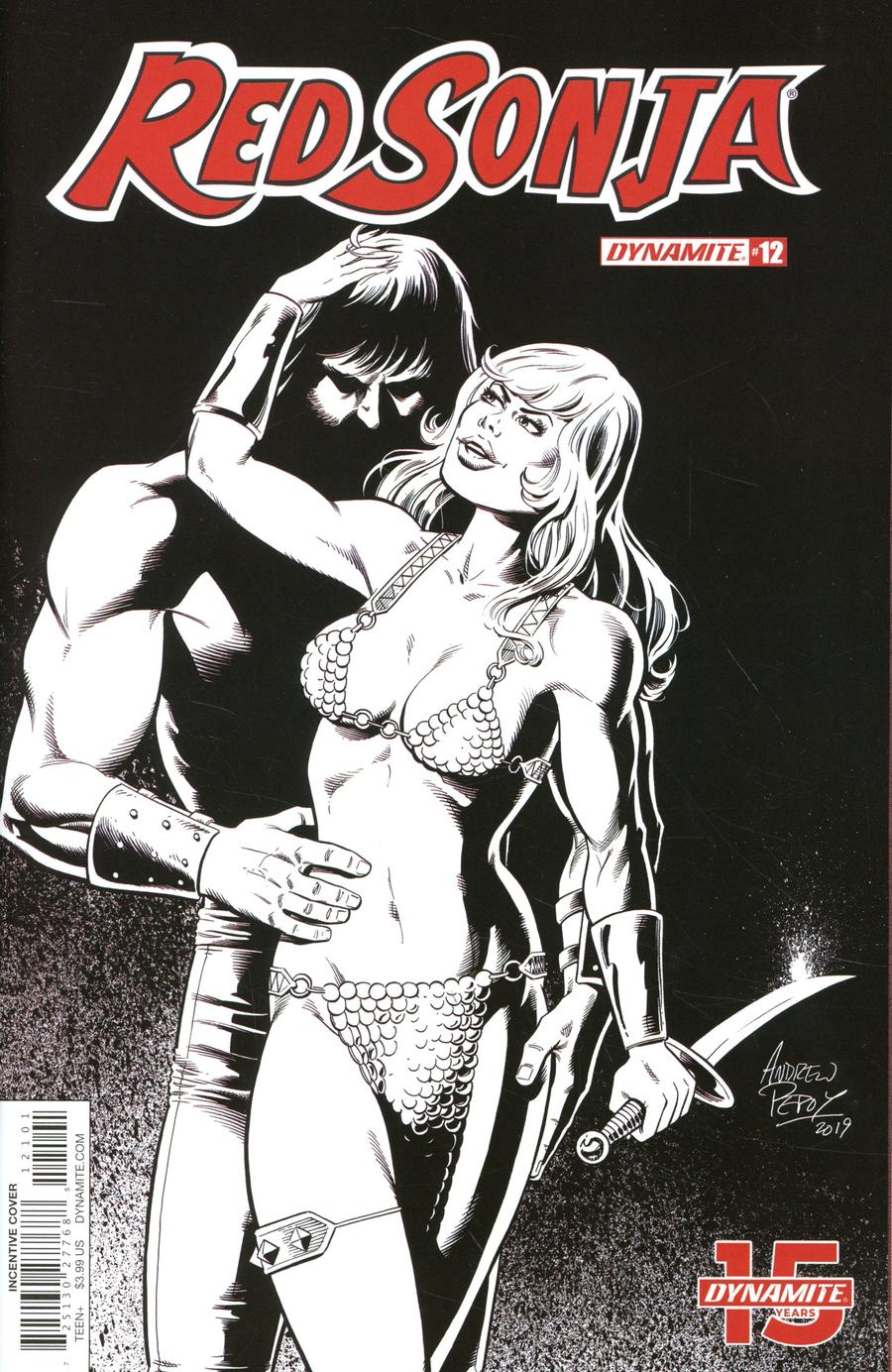Red Sonja Vol 8 #12 Cover O Incentive Andrew Pepoy Seduction Black & White Variant Cover