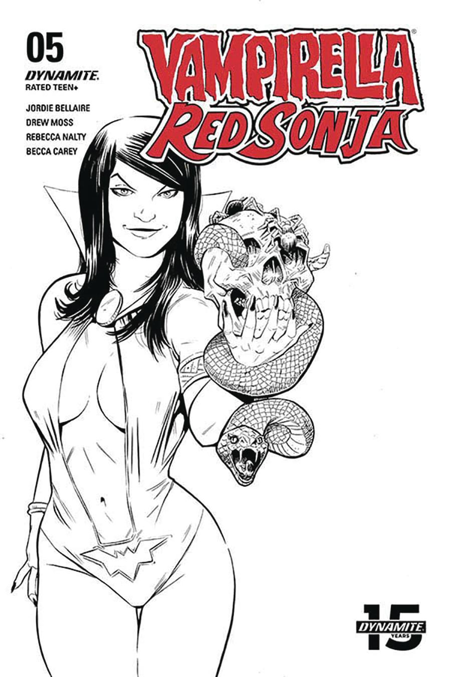 Vampirella Red Sonja #5 Cover I Incentive Drew Moss Then And Now Black & White Cover