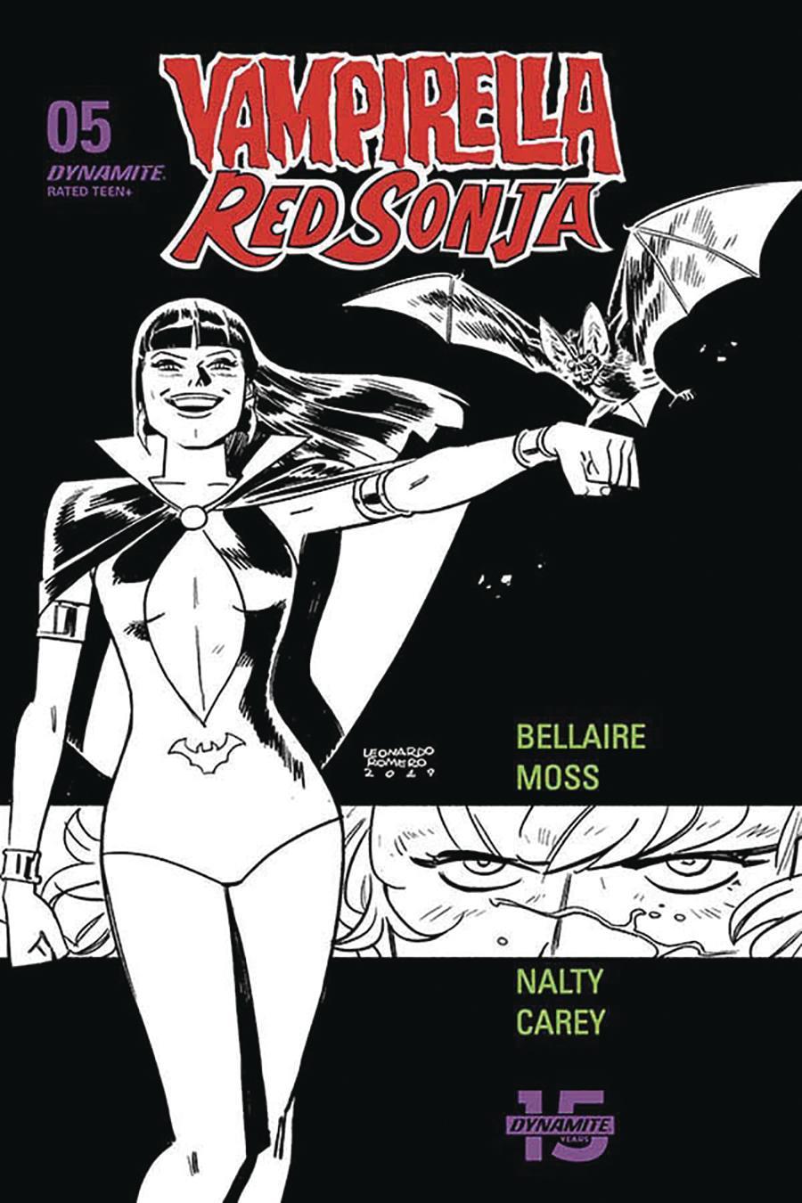 Vampirella Red Sonja #5 Cover P Incentive Leonardo Romero & Jordie Bellaire Black & White Cover