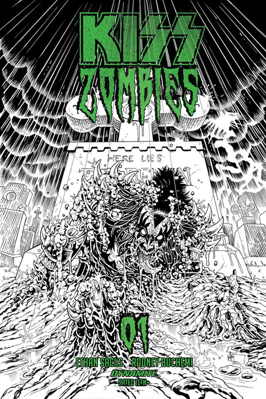 KISS Zombies #1 Cover G Incentive Ken Haeser Black & White Variant Cover