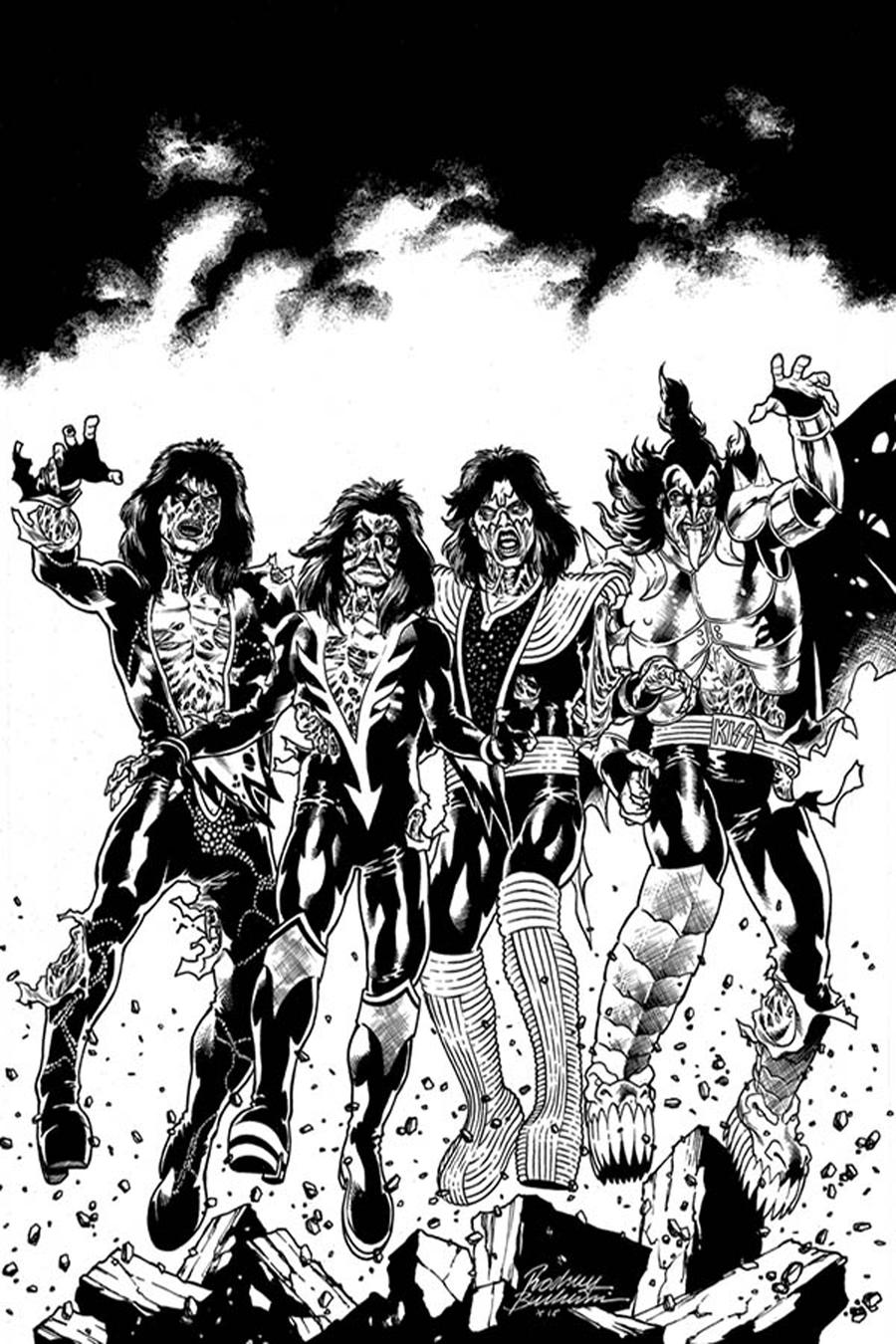 KISS Zombies #1 Cover J Incentive Rodney Buchemi Virgin Black & White Cover