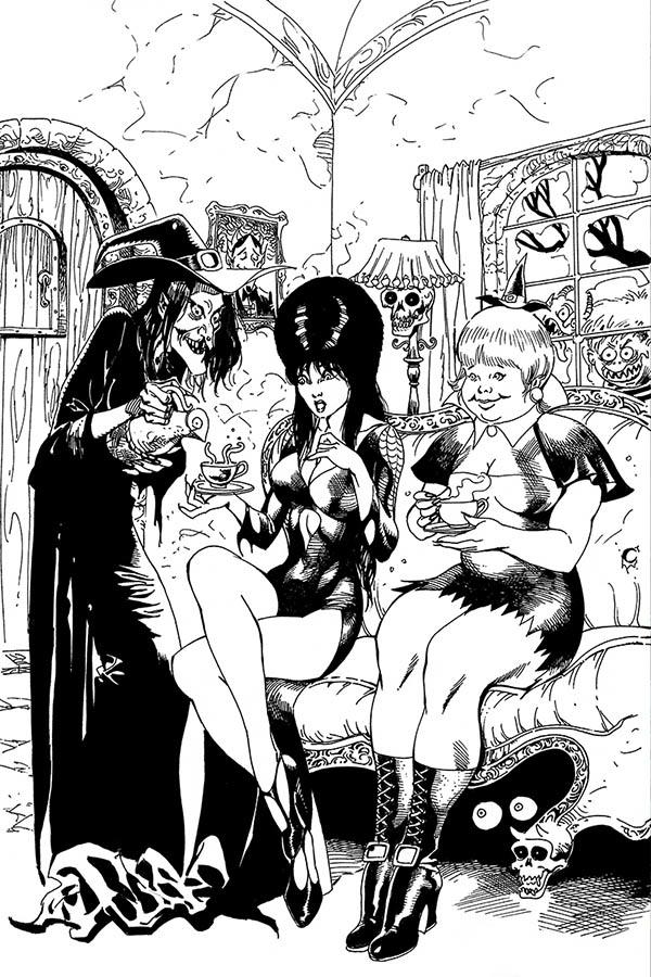 Elvira Mistress Of The Dark Vol 2 #10 Cover J Incentive Roberto Castro Black & White Virgin Cover