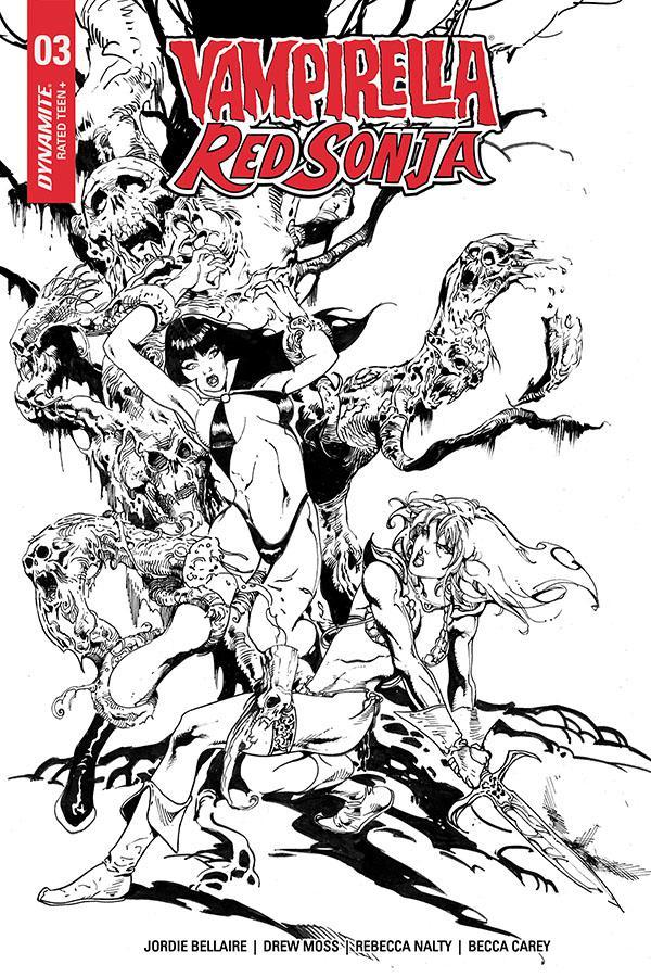 Vampirella Red Sonja #3 Cover G Incentive Roberto Castro Black & White Cover