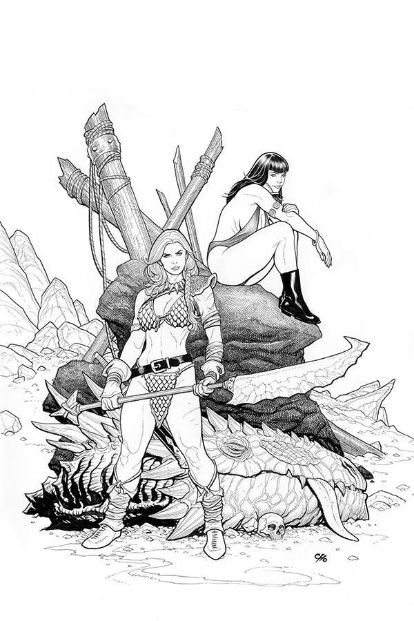 Vampirella Red Sonja #3 Cover M Incentive Frank Cho Black & White Virgin Cover