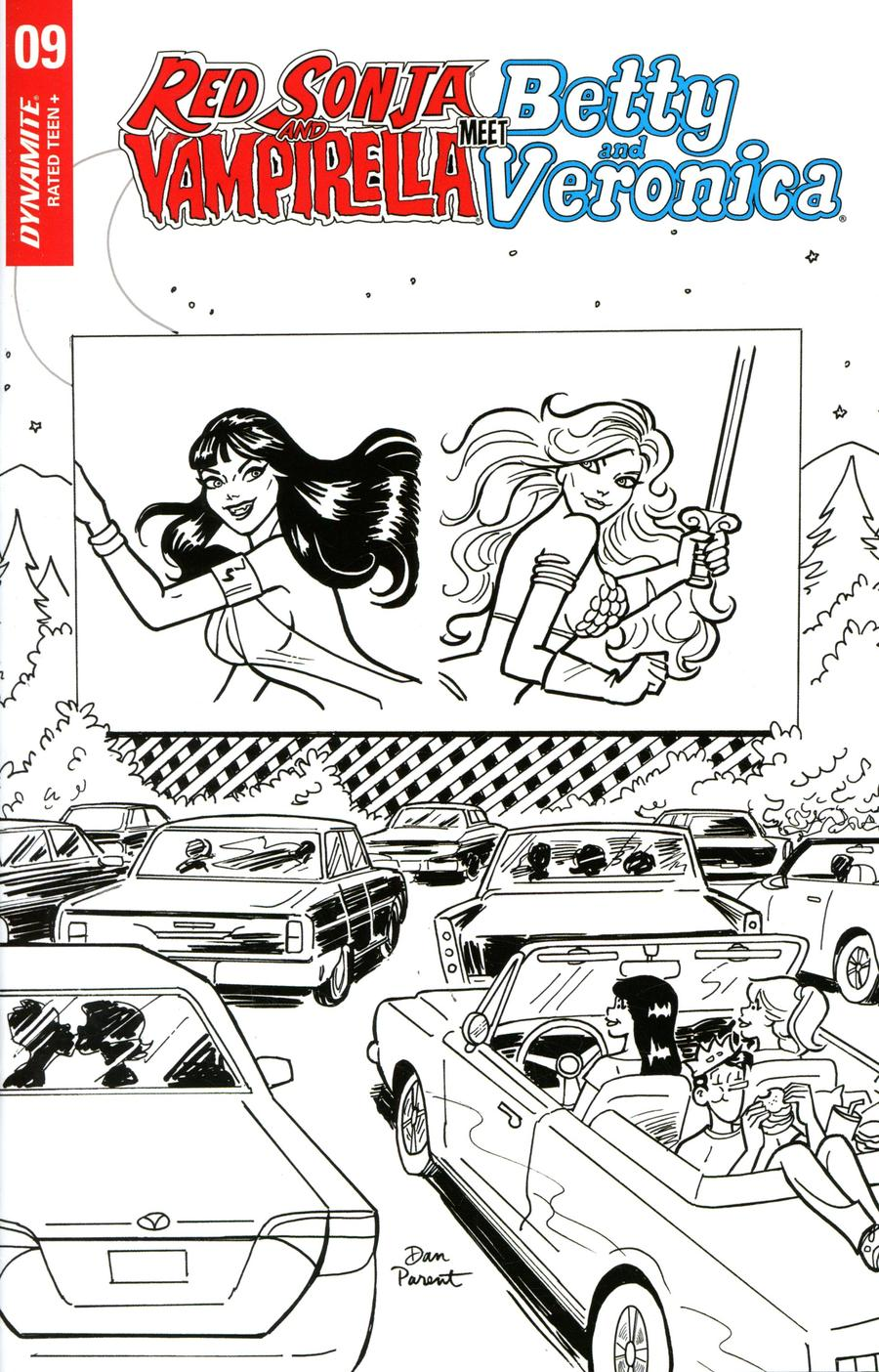 Red Sonja And Vampirella Meet Betty And Veronica #9 Cover G Incentive Dan Parent Black & White Cover