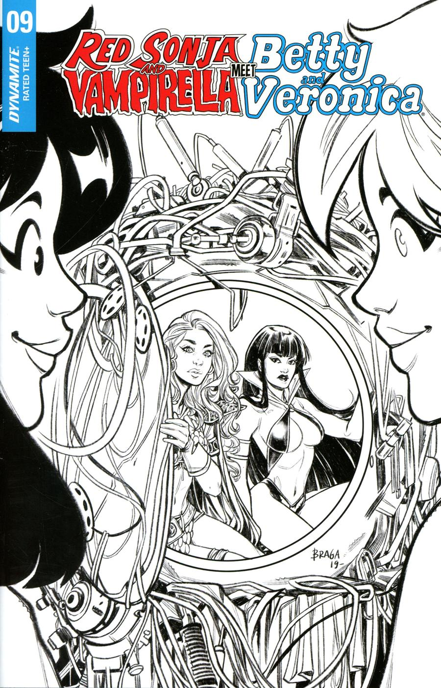 Red Sonja And Vampirella Meet Betty And Veronica #9 Cover J Incentive Laura Braga Black & White Cover