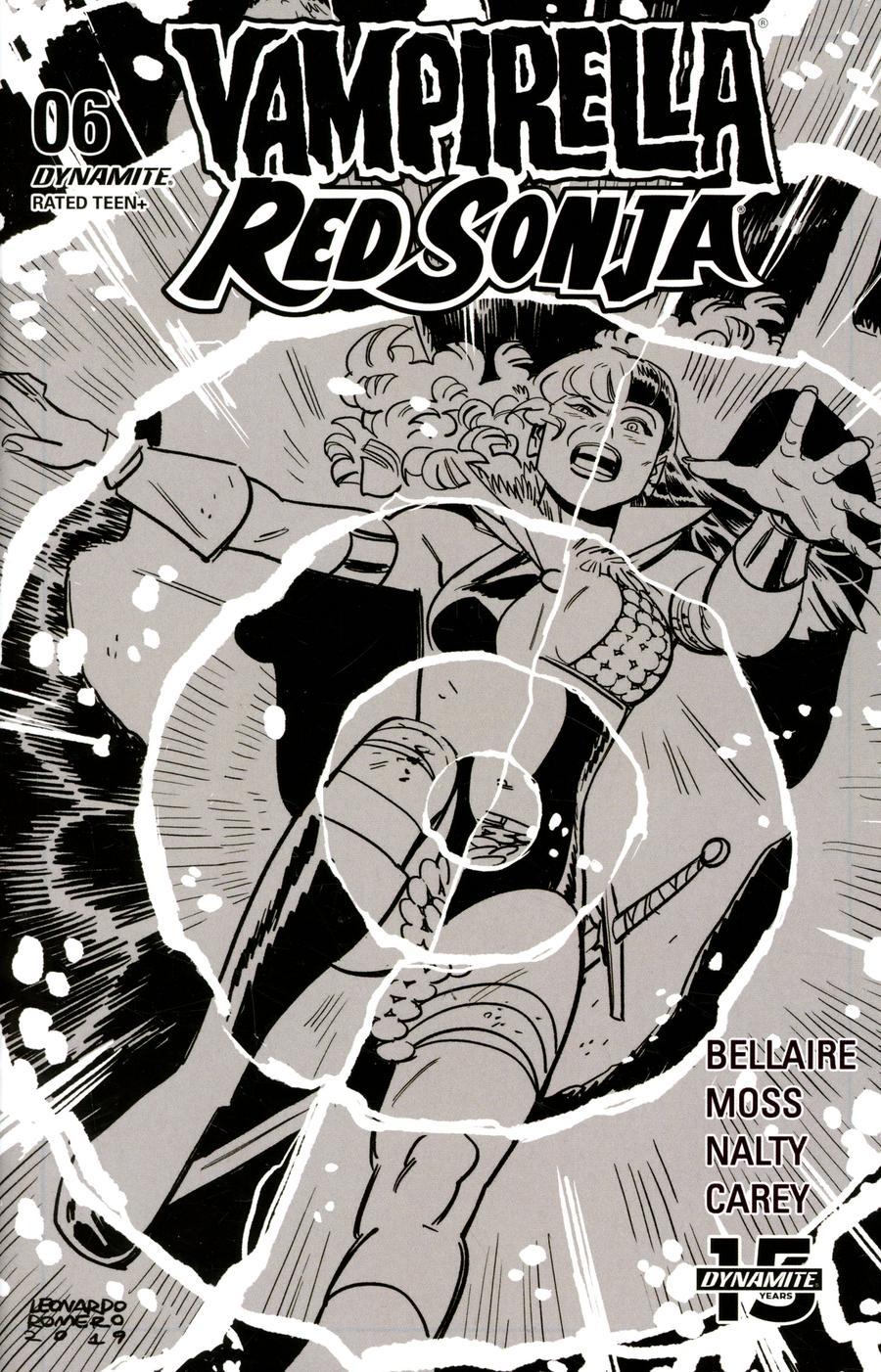 Vampirella Red Sonja #6 Cover P Incentive Leonardo Romero Black & White Cover