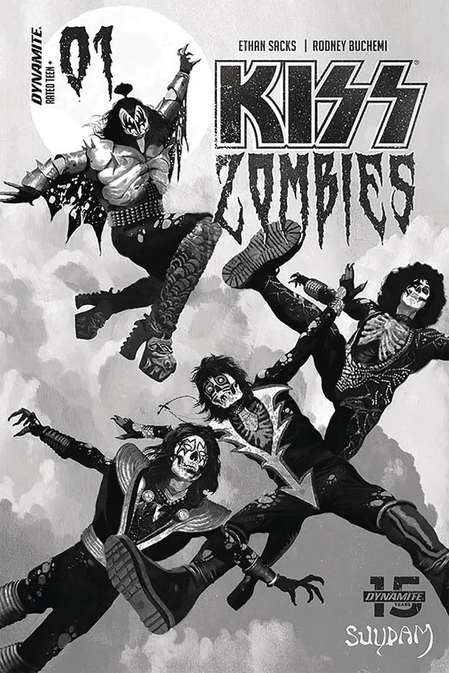 KISS Zombies #1 Cover R Limited Edition Arthur Suydam Grayscale Cover
