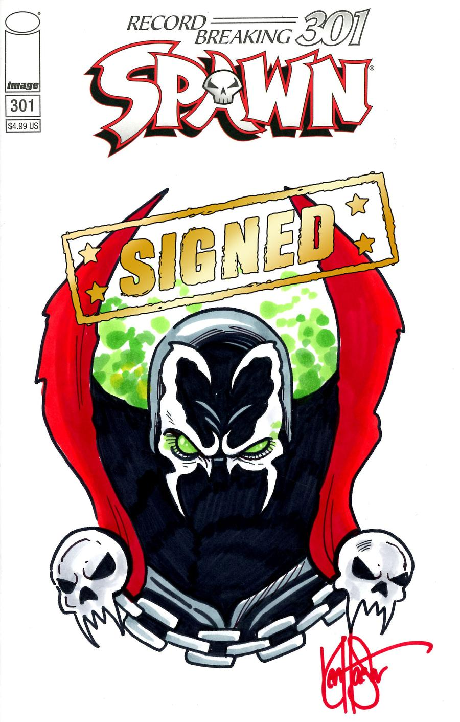 Spawn #301 Cover T DF Variant Blank Cover Signed & Remarked By Ken Haeser