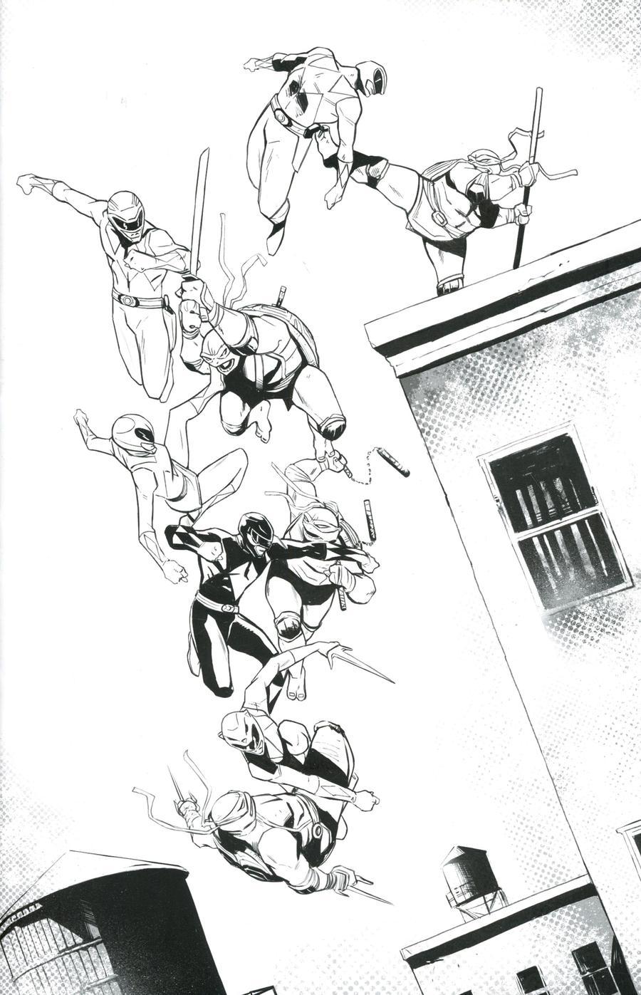 Mighty Morphin Power Rangers Teenage Mutant Ninja Turtles #3 Cover H Incentive Lee Garbett Black & White Cover