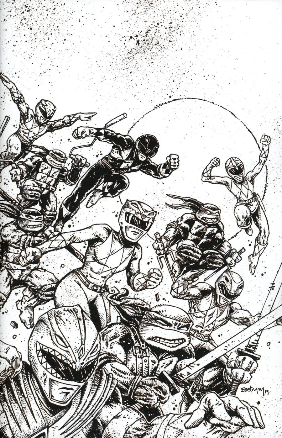 Mighty Morphin Power Rangers Teenage Mutant Ninja Turtles #1 Cover H Incentive Kevin Eastman Black & White Variant Cover