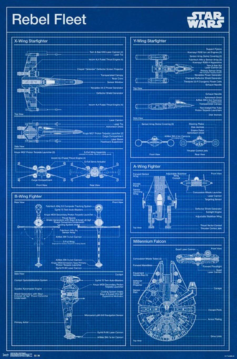 Star Wars Saga Rebel Blueprint Wall Poster
