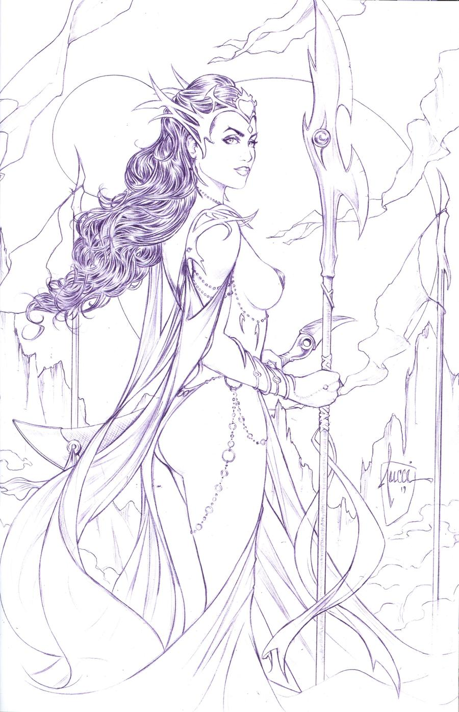 Dejah Thoris Vol 3 #1 Cover K Incentive Billy Tucci Black & White Lines Tint Cover