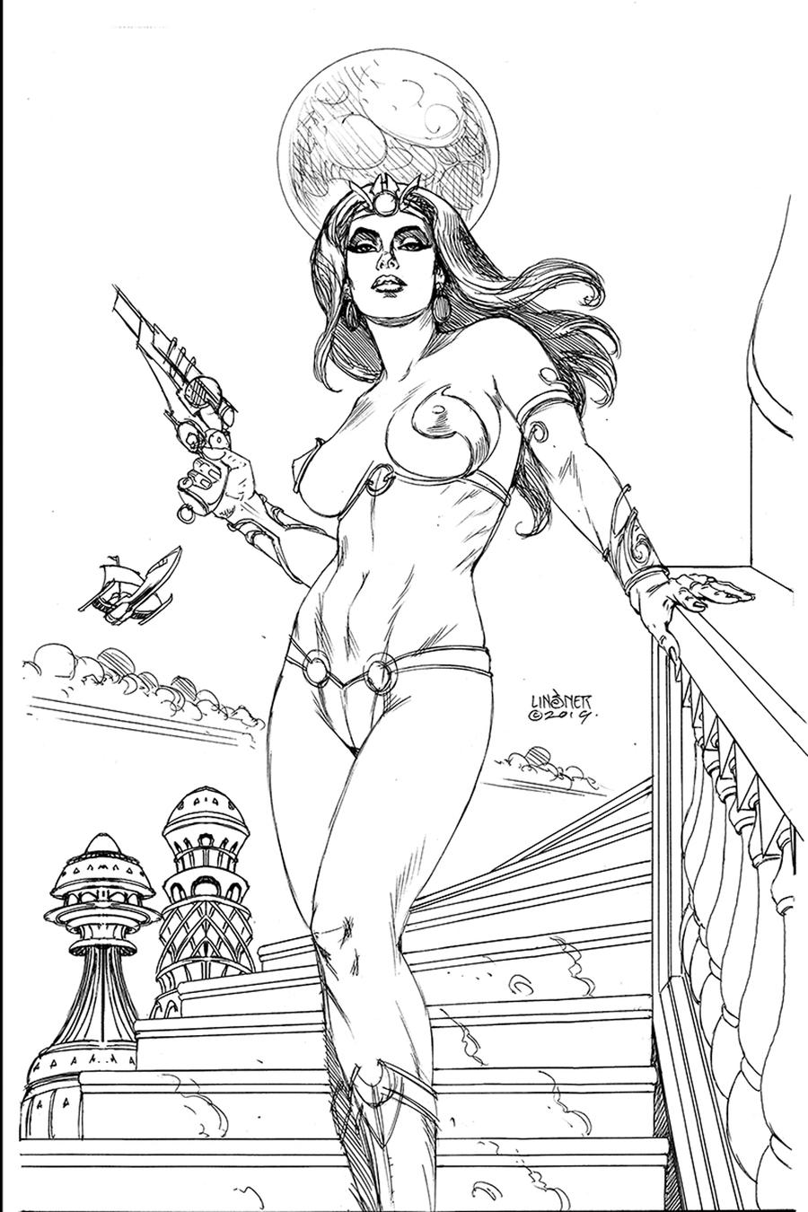 Dejah Thoris Vol 3 #1 Cover M Incentive Joseph Michael Linsner Black & White Virgin Cover