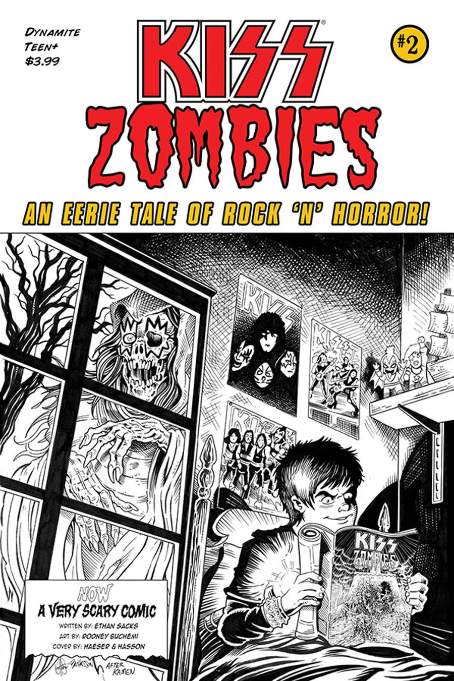 KISS Zombies #2 Cover G Incentive Ken Haeser Black & White Cover