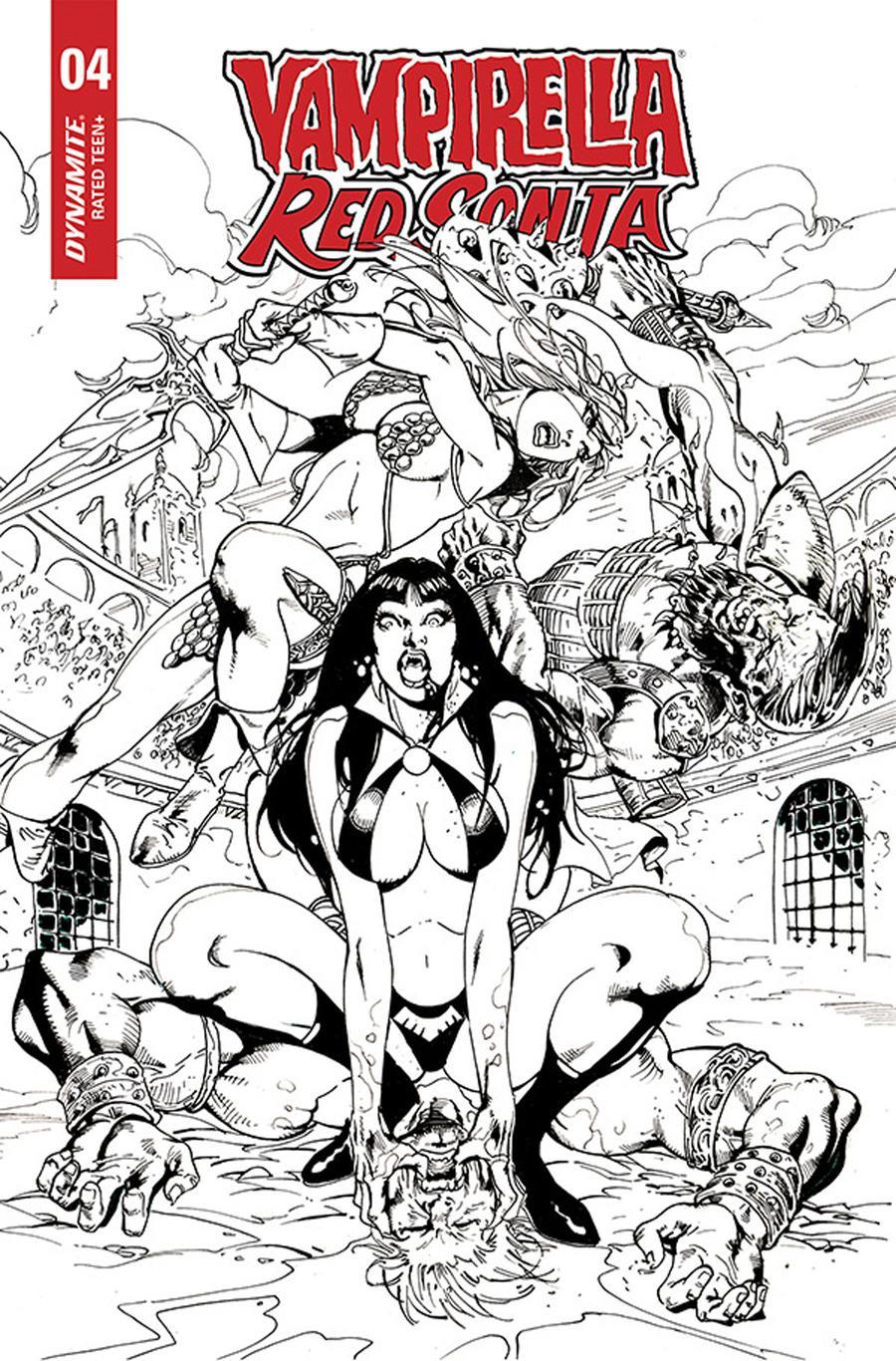 Vampirella Red Sonja #4 Cover F Incentive Roberto Castro Black & White Cover