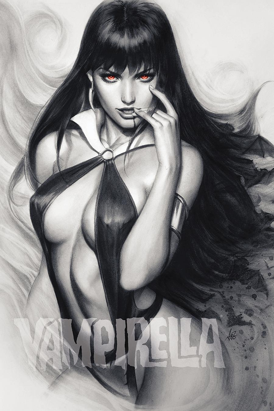 Vampirella Vol 8 #6 Cover K Incentive Stanley Artgerm Lau Charcoal With Red Eyes Cover