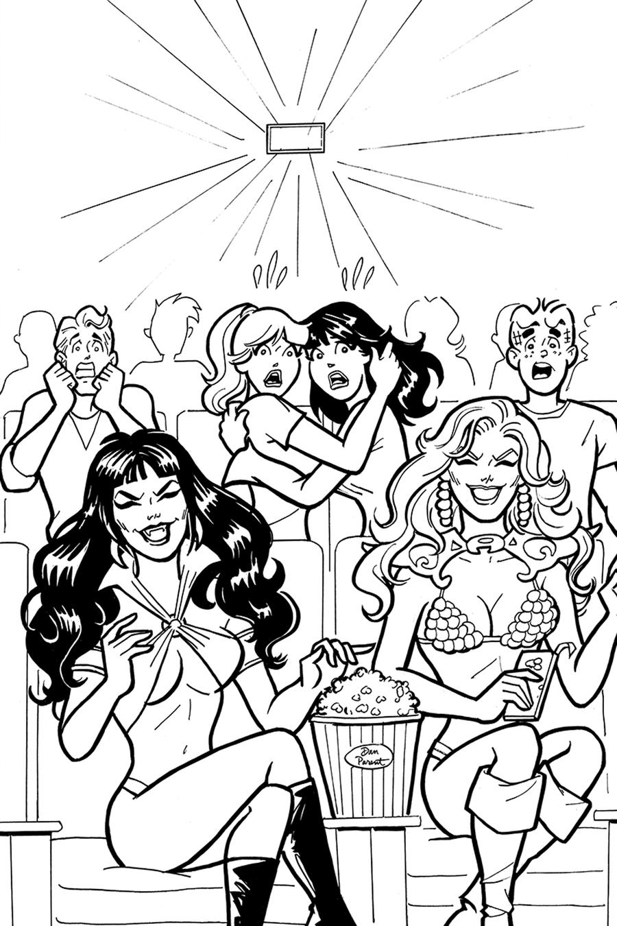 Red Sonja And Vampirella Meet Betty And Veronica #7 Cover I Incentive Dan Parent Virgin Black & White Cover
