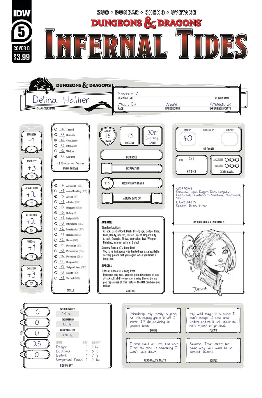 Dungeons & Dragons Infernal Tides #5 Cover B Variant Character Sheet Cover