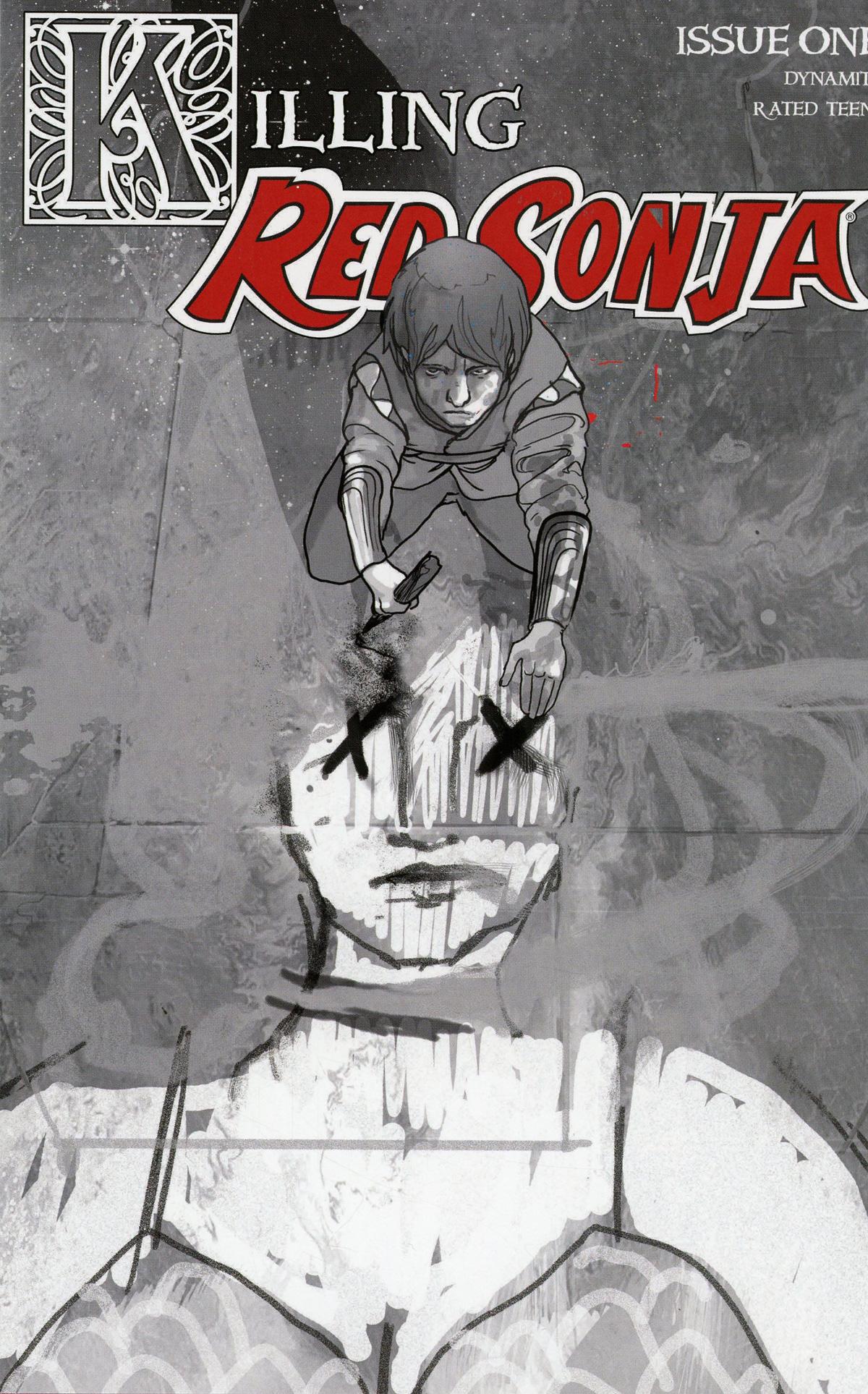 Killing Red Sonja #1 Cover E Incentive Christian Ward Grayscale Cover
