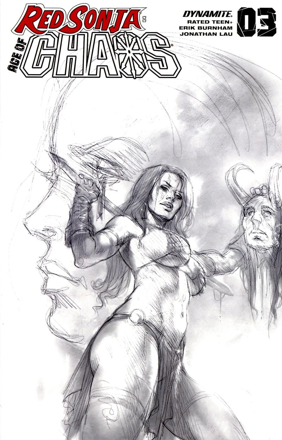 Red Sonja Age Of Chaos #3 Cover P Incentive Lucio Parrillo Pure Pencil Sketch Cover