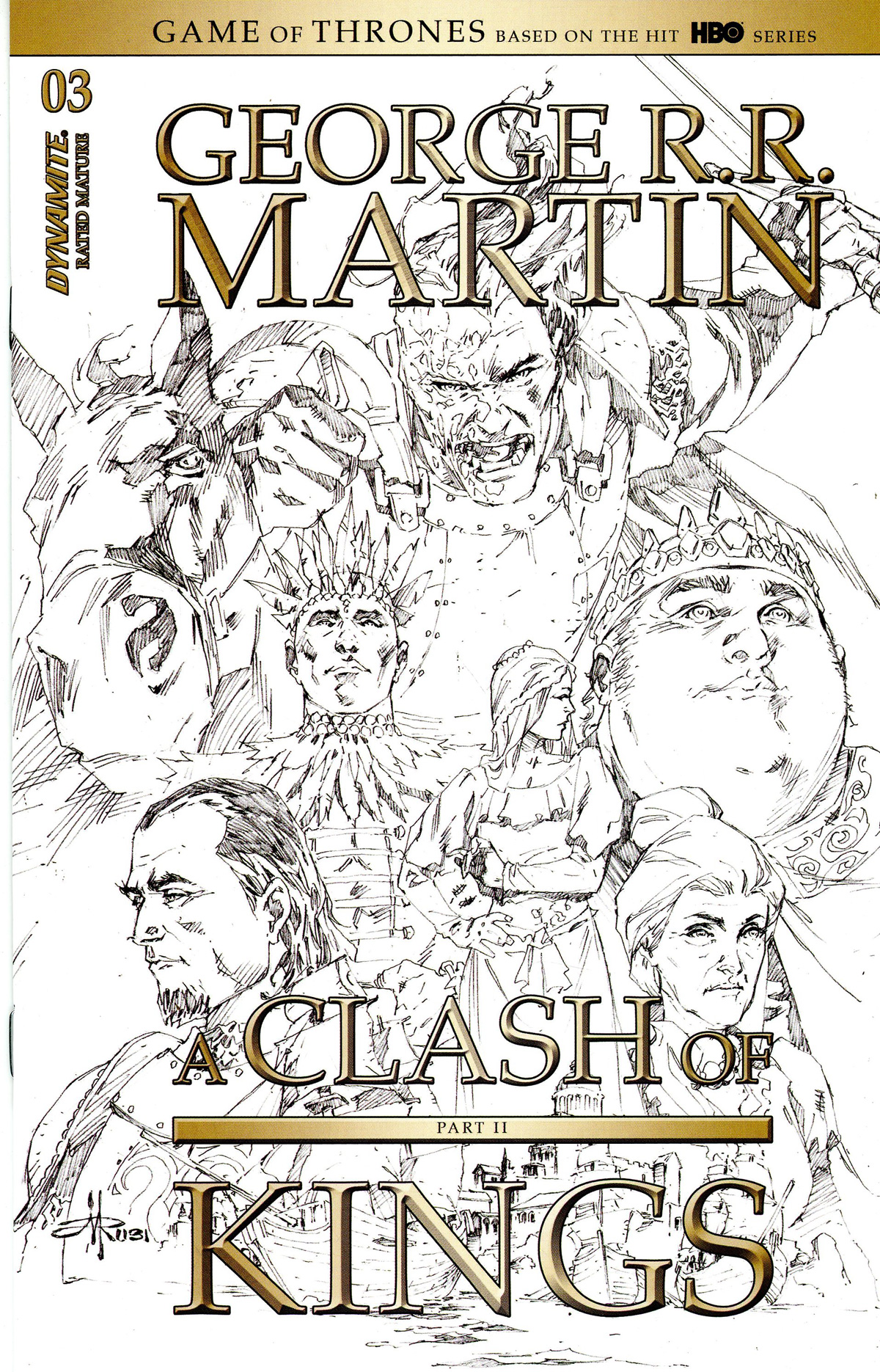 Game Of Thrones Clash Of Kings Vol 2 #3 Cover D Incentive Mel Rubi Black & White Cover