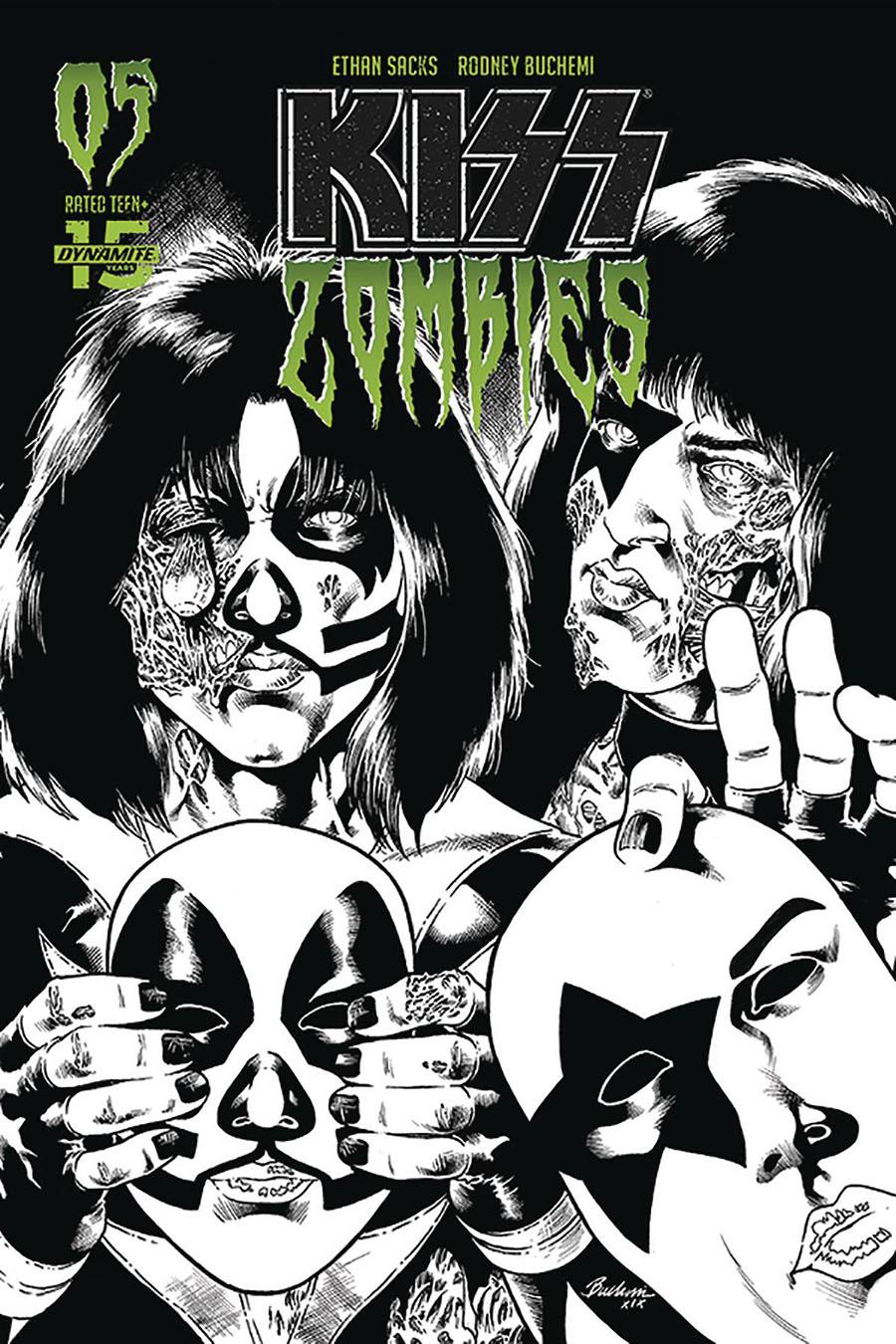 KISS Zombies #5 Cover L Incentive Rodney Buchemi Black & White Cover