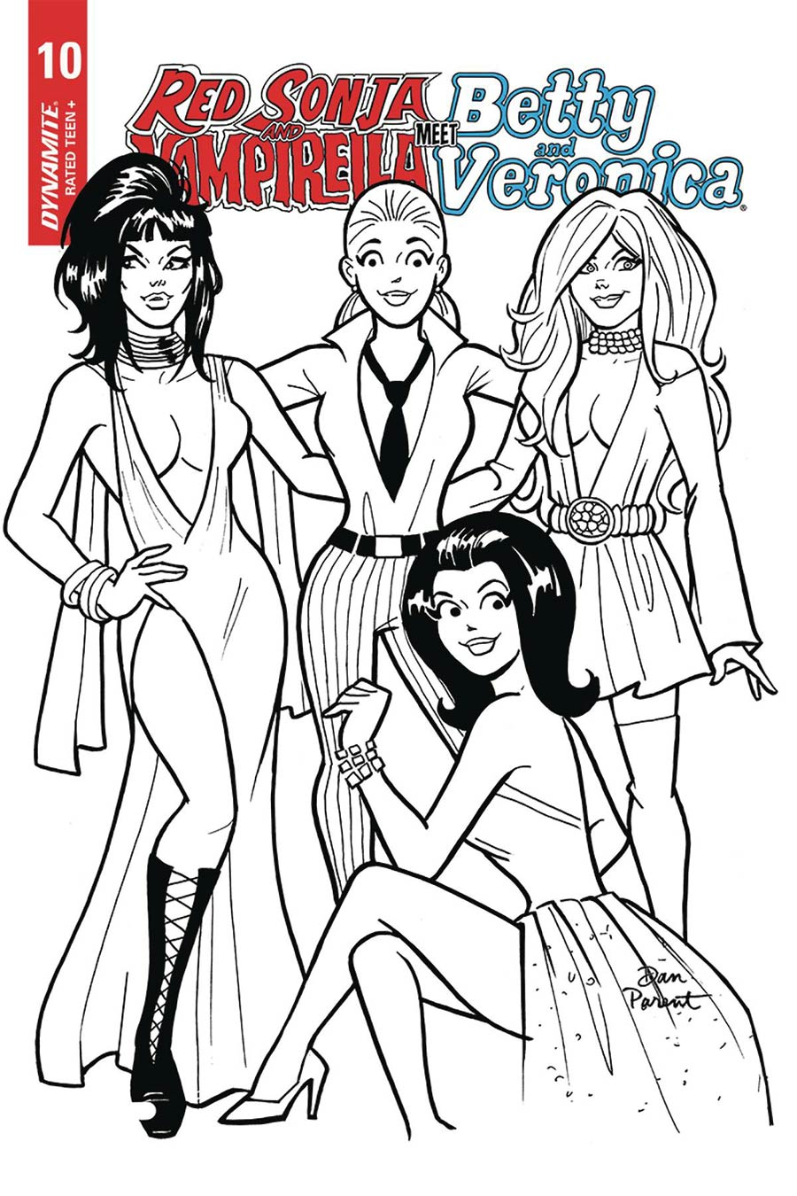 Red Sonja And Vampirella Meet Betty And Veronica #10 Cover H Incentive Dan Parent Black & White Cover