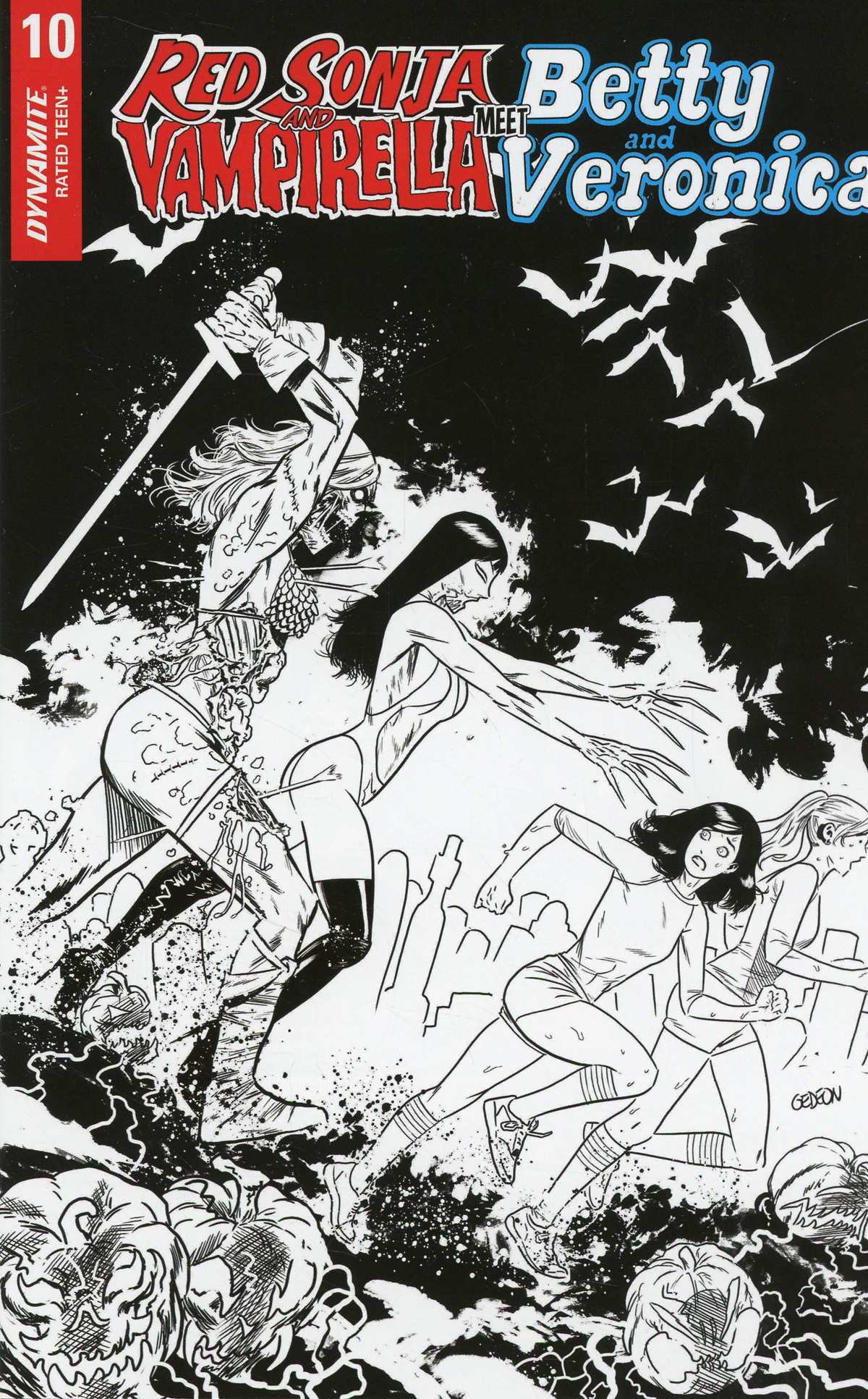 Red Sonja And Vampirella Meet Betty And Veronica #10 Cover J Incentive Juan Gedeon Zombie Black & White Cover
