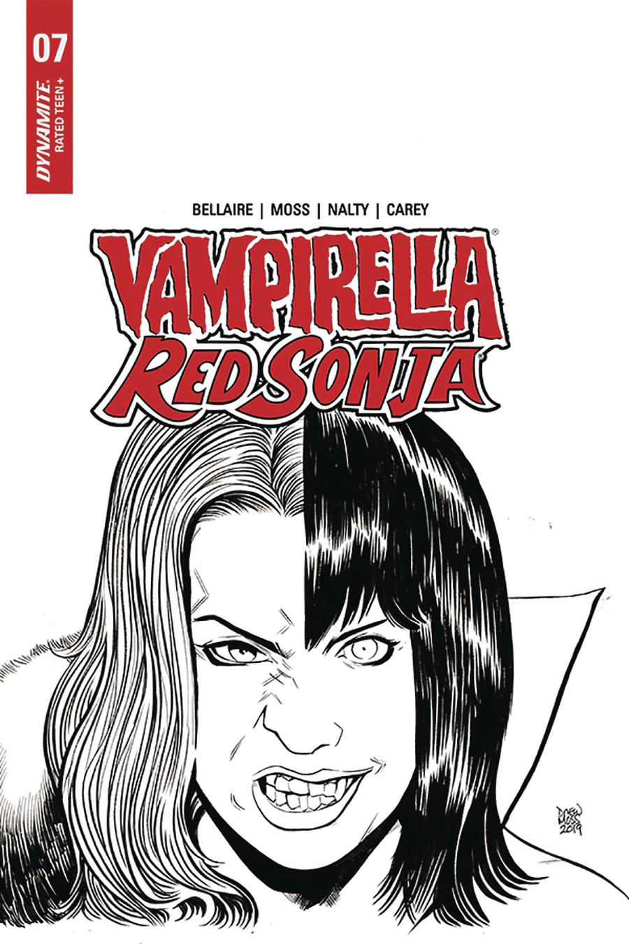 Vampirella Red Sonja #7 Cover I Incentive Drew Moss Then And Now Black & White Cover