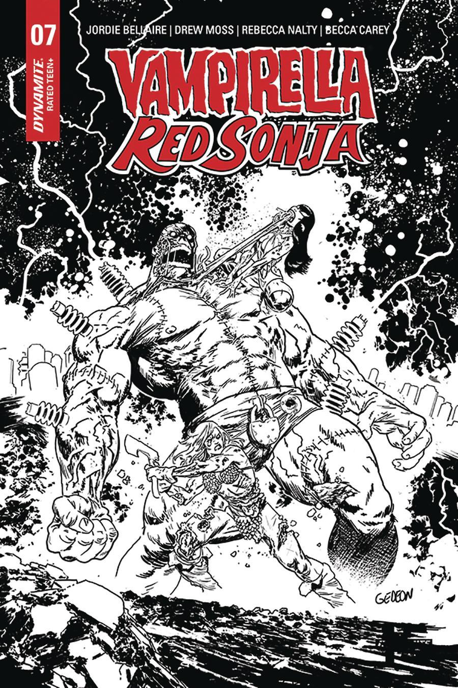 Vampirella Red Sonja #7 Cover K Incentive Juan Gedeon Zombie Black & White Cover