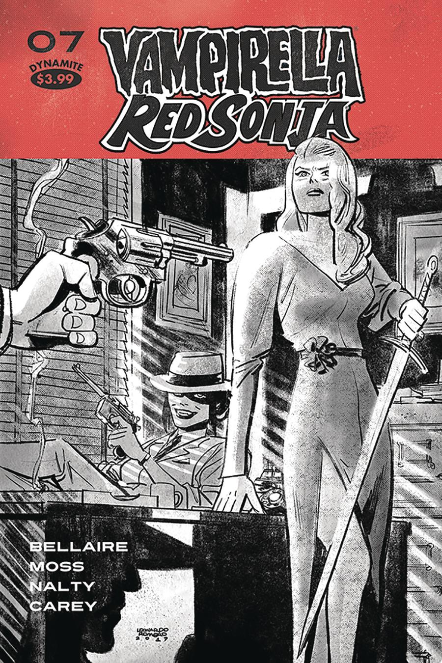 Vampirella Red Sonja #7 Cover Q Incentive Leonardo Romero Black & White Cover