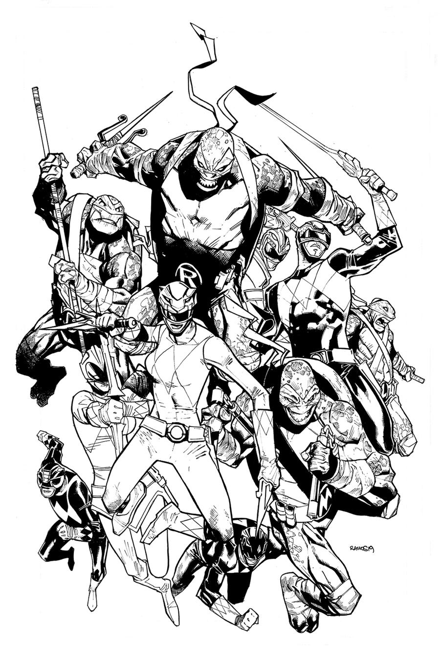 Mighty Morphin Power Rangers Teenage Mutant Ninja Turtles #2 Cover H Incentive Black & White Cover