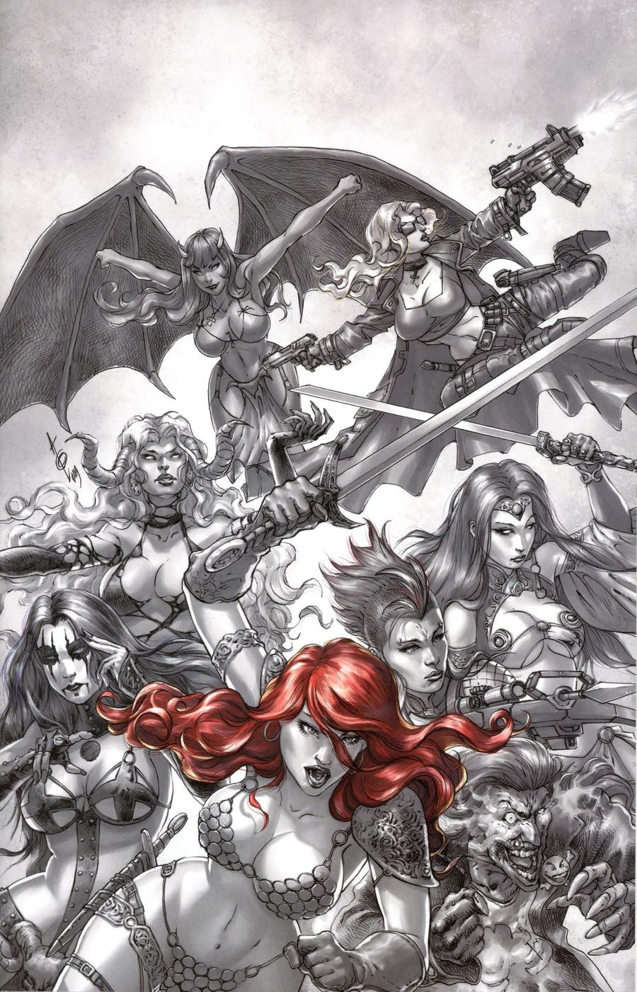 Red Sonja Age Of Chaos #1 Cover J Incentive Alan Quah Black & White Red Virgin Cover