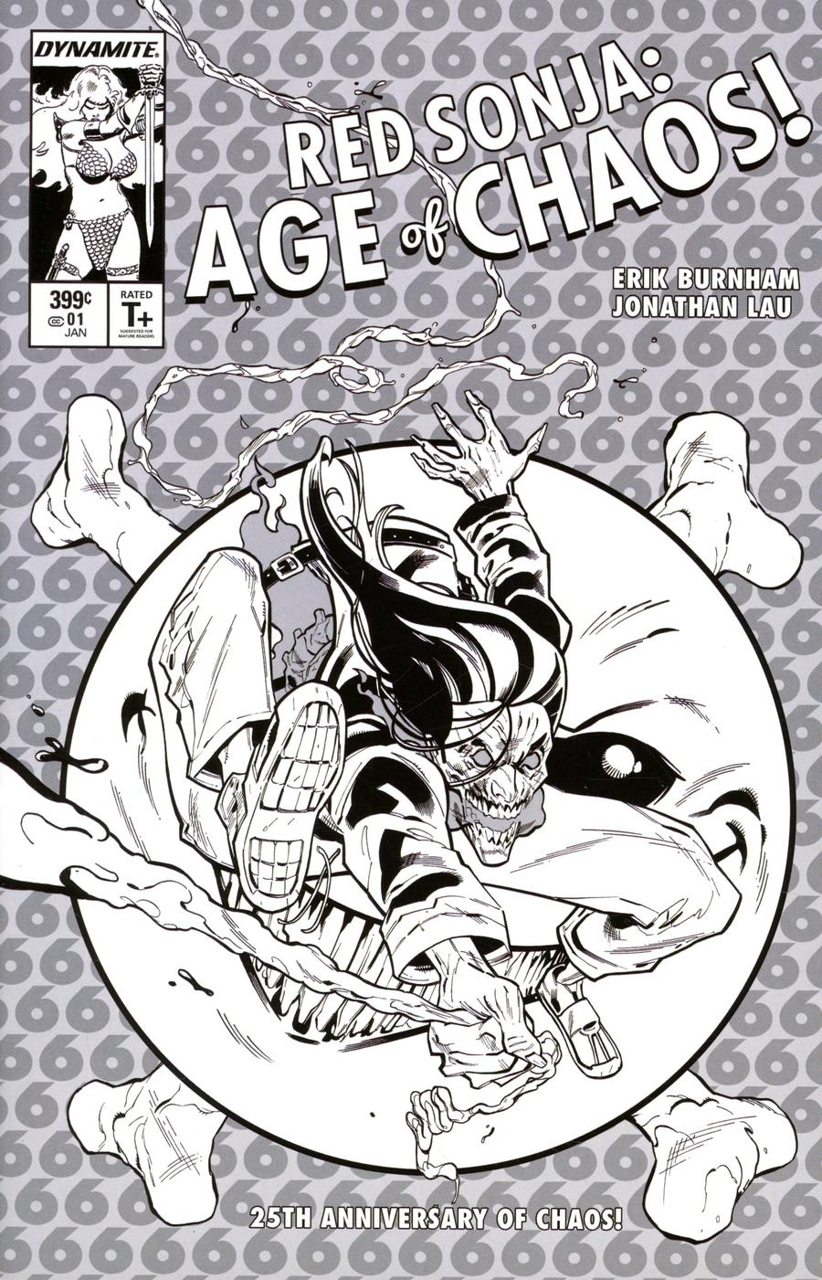 Red Sonja Age Of Chaos #1 Cover O Incentive Cain Tormey Black & White Cover
