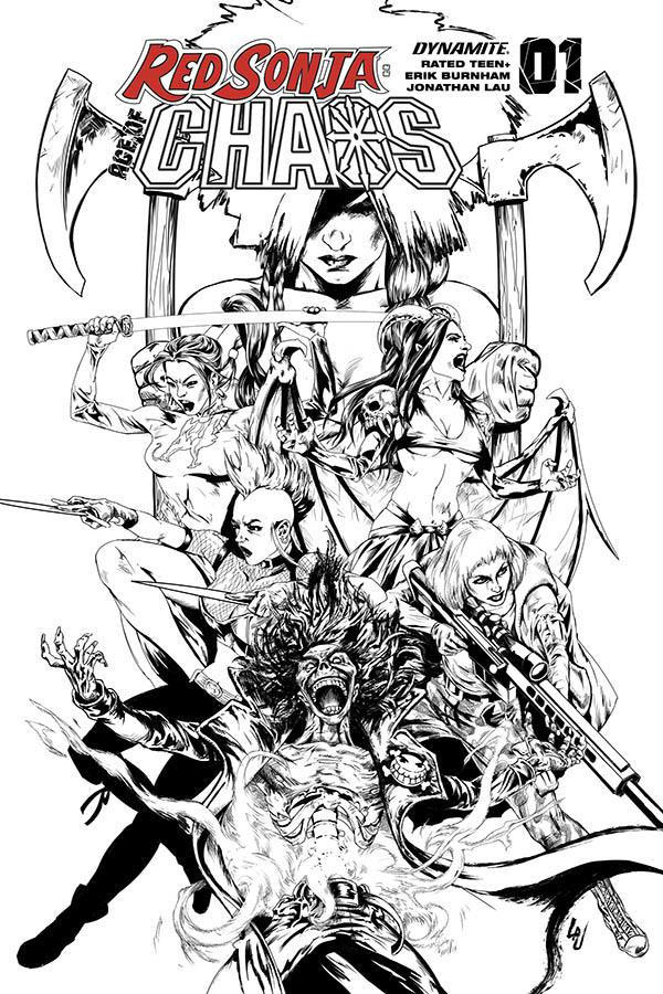 Red Sonja Age Of Chaos #1 Cover S Incentive Jonathan Lau Black & White Cover