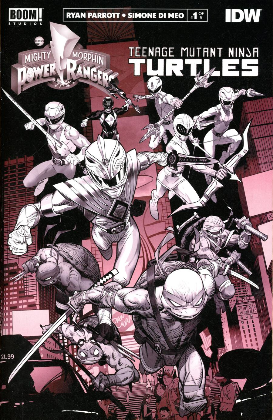 Mighty Morphin Power Rangers Teenage Mutant Ninja Turtles #1 Cover J Variant Black & White Edition