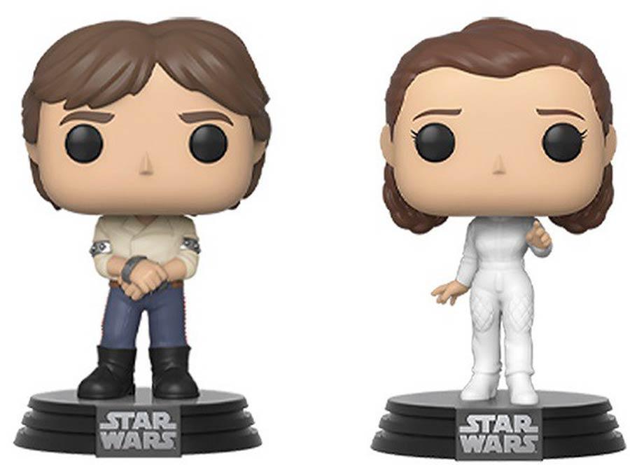POP Star Wars Empire Strikes Back Han Solo And Princess Leia 2-Pack Vinyl Bobble Head