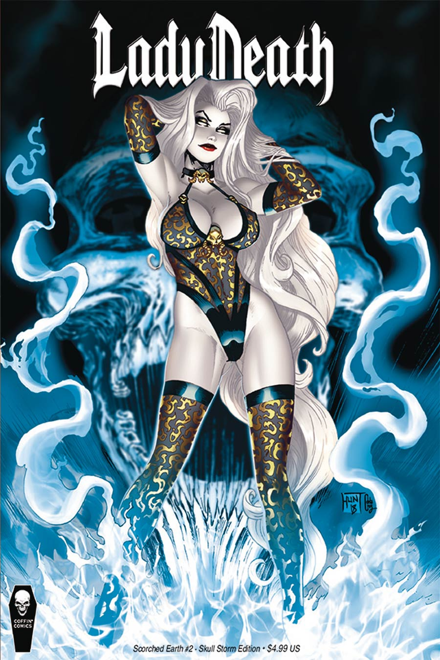 Lady Death Scorched Earth #2 Cover B Variant Ken Hunt Skull Storm Cover