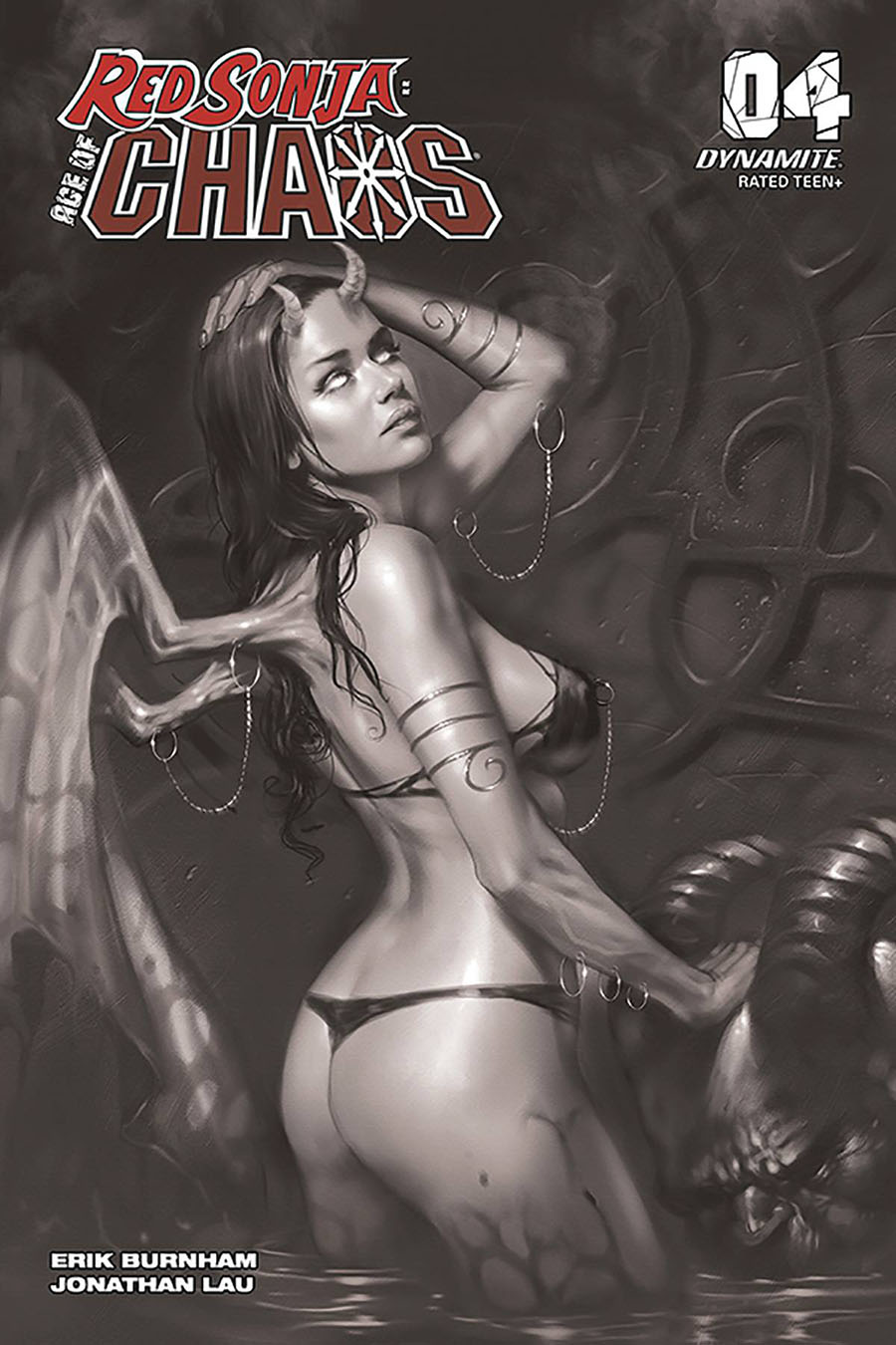 Red Sonja Age Of Chaos #4 Cover S Incentive Lucio Parrillo Black & White Cover