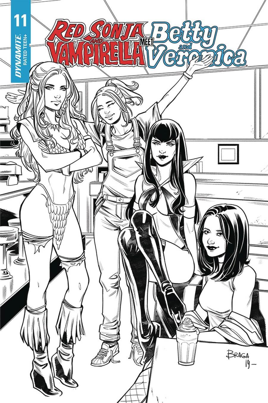 Red Sonja And Vampirella Meet Betty And Veronica #11 Cover J Incentive Laura Braga Black & White Cover