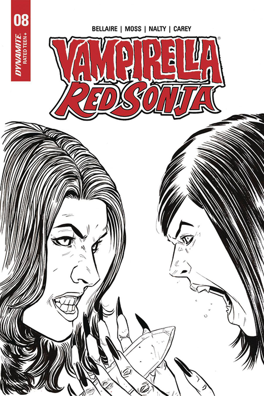 Vampirella Red Sonja #8 Cover I Incentive Drew Moss Then And Now Black & White Cover