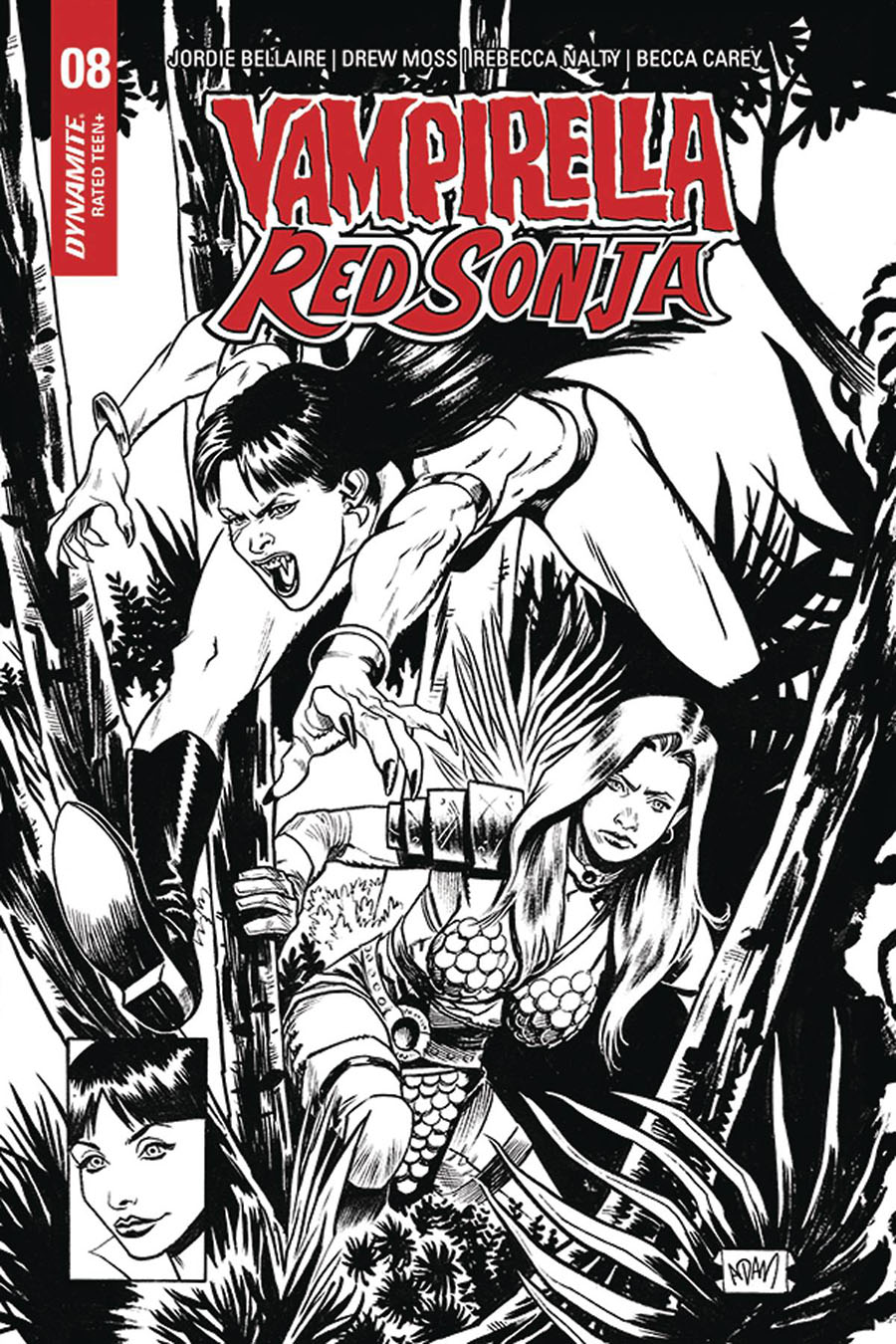 Vampirella Red Sonja #8 Cover K Incentive Adam Gorham Todd McFarlane Homage Black & White Variant Cover