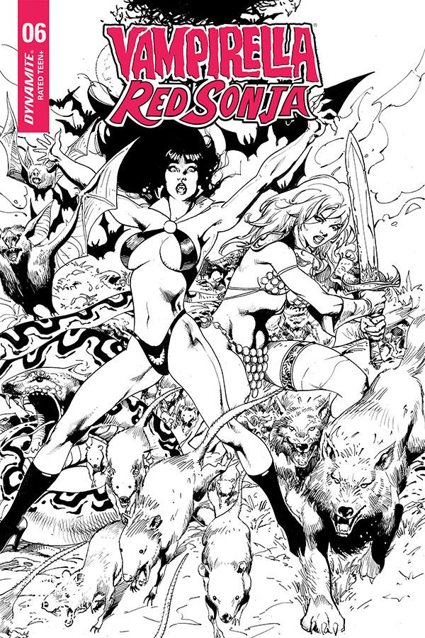 Vampirella Red Sonja #6 Cover H Incentive Roberto Castro Black & White Cover
