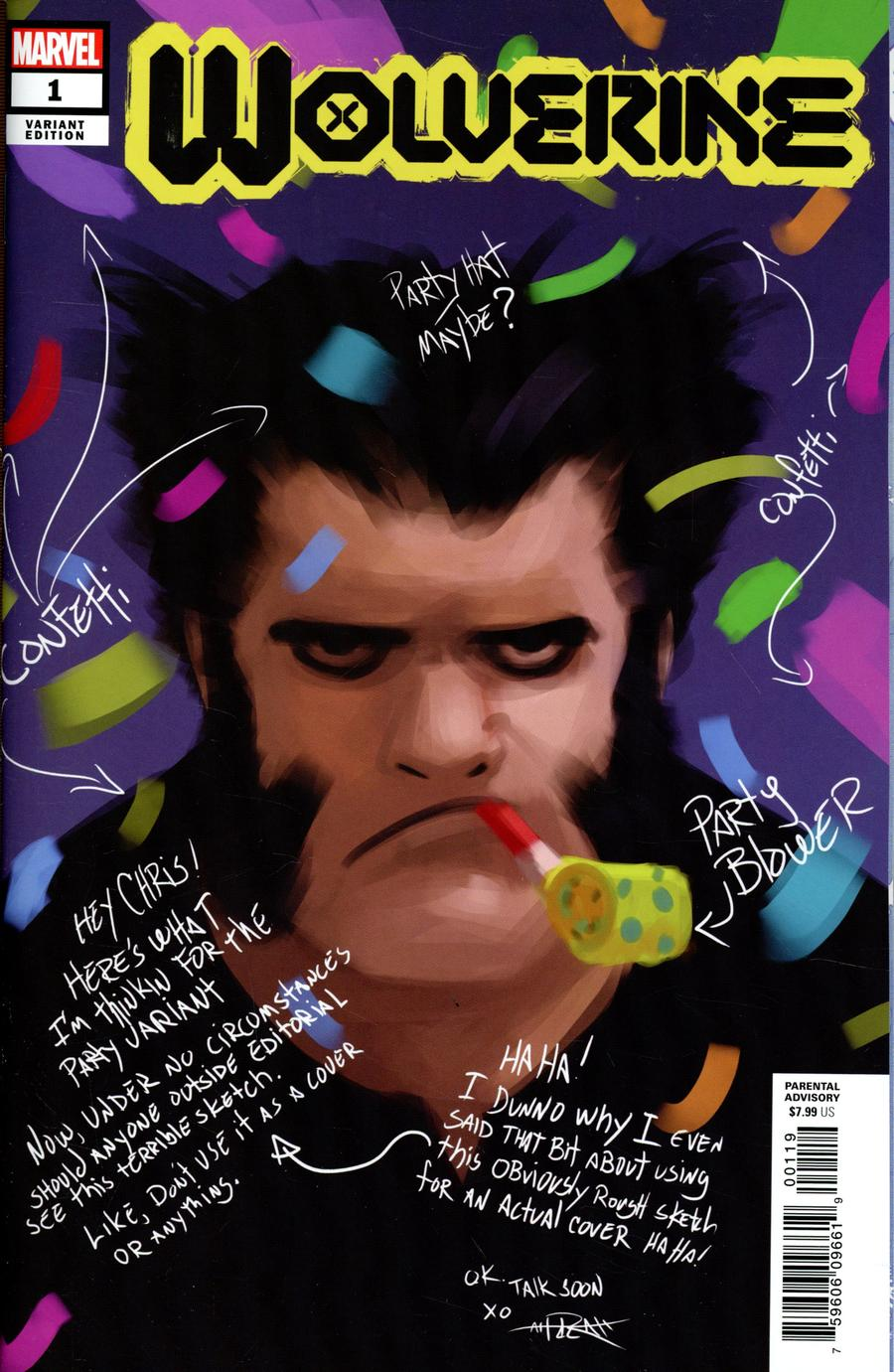 Wolverine Vol 7 #1 Cover N Incentive Rahzzah Party Sketch Cover (Dawn Of X Tie-In)