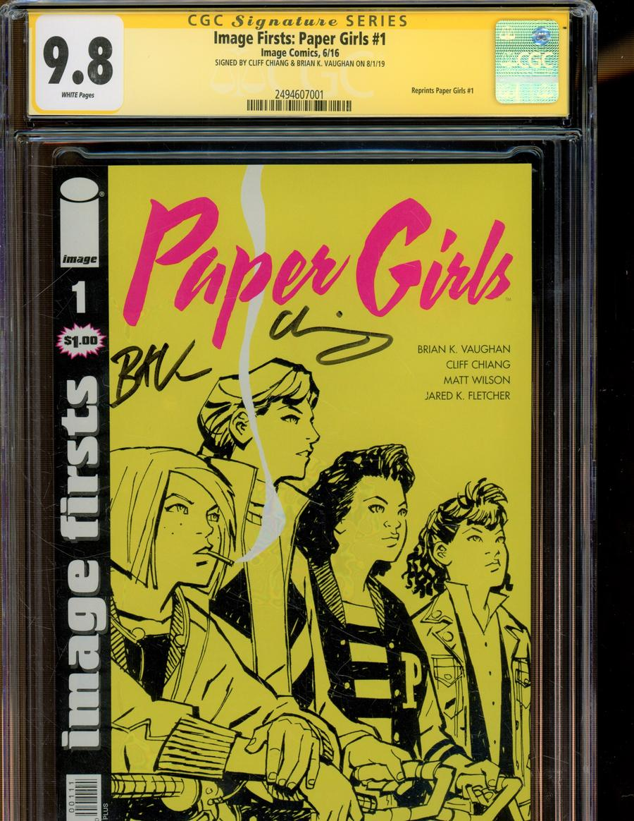 Image Firsts Paper Girls #1 Cover C Signed By Brian K Vaughan & Cliff Chiang CGC 9.8